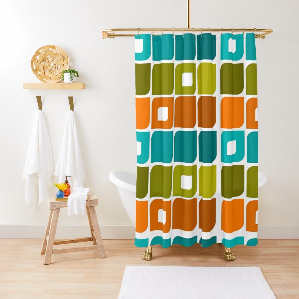 Mid-Century Modern Geometric Pattern Shower Curtain