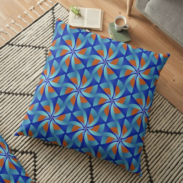 Modern Geometric Blue Orange Pattern Design 364a Floor Pillow