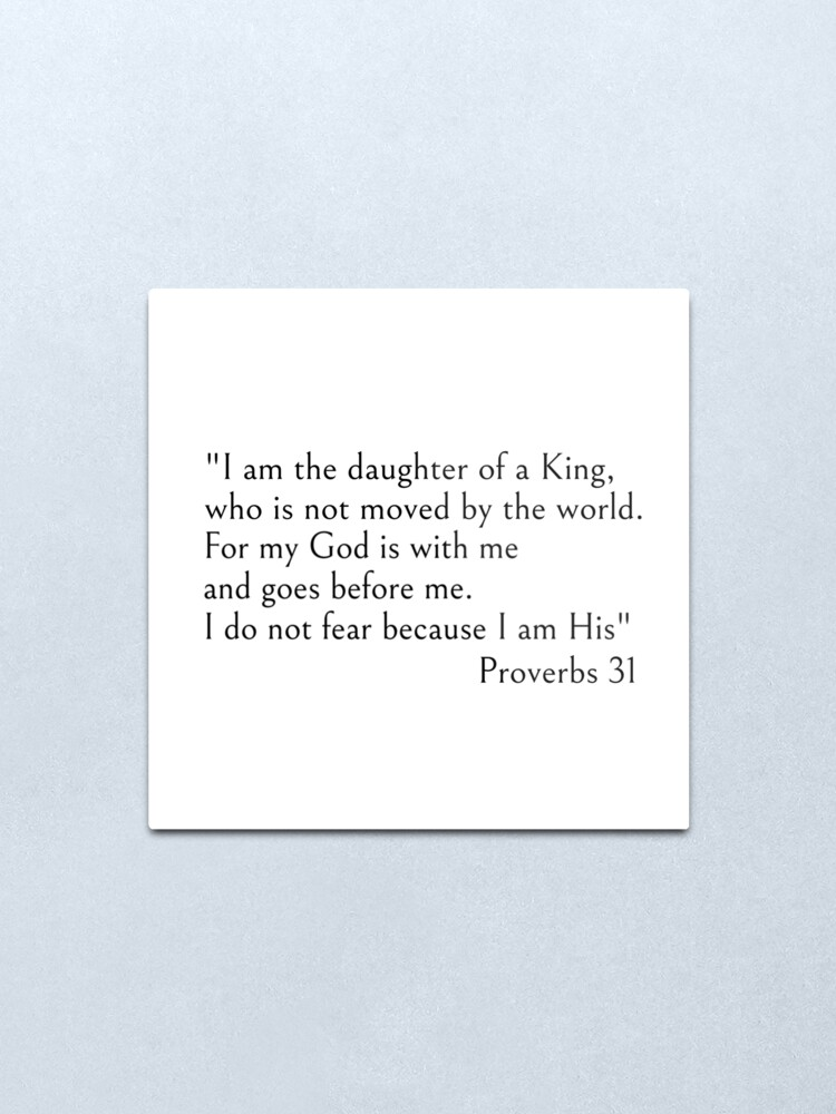 Alternate view of I am the daughter of a King - Christian Bible quotes Metal Print