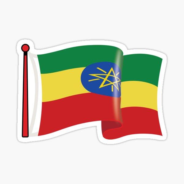 Ethiopian Flag waving current Sticker