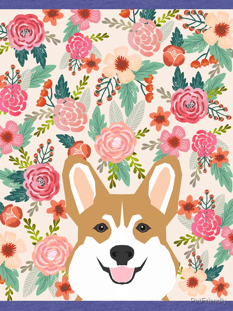 Welsh Corgi florals spring flowers summer garden nature bloom corgi pet portrait gift for corgi owner must haves by PetFriendly