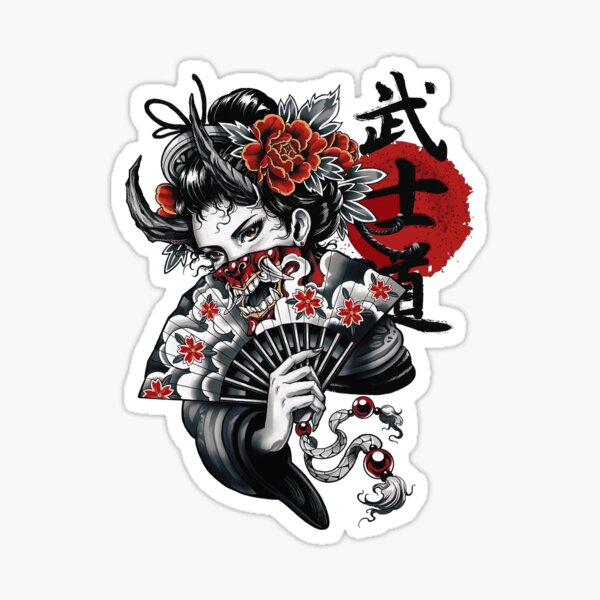 Japanese Geisha Girl Vaporwave Cyberpunk Popart Urban Style Sticker
