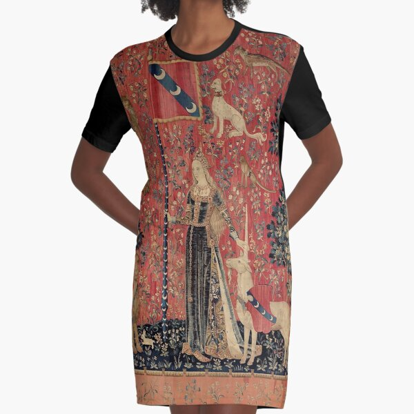 Medieval Unicorn Floral Tapestry Graphic T-Shirt Dress