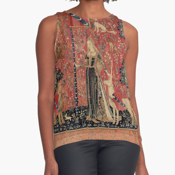 Medieval Unicorn Floral Tapestry Sleeveless Top