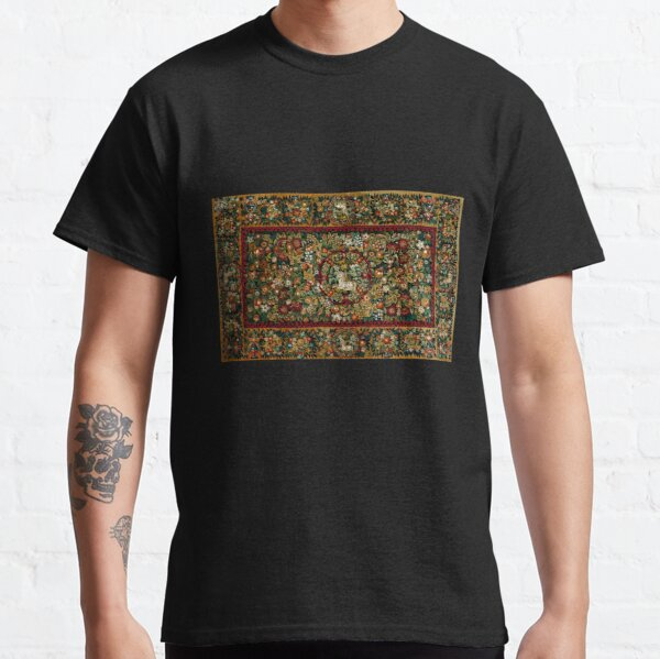 Medieval Unicorn Floral Tapestry Classic T-Shirt