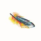 Little Parrot Feather Watercolor by Willow Heath