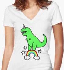 T-Rexicorn Women's Fitted V-Neck T-Shirt