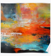 Red abstract sunset landscape painting Poster