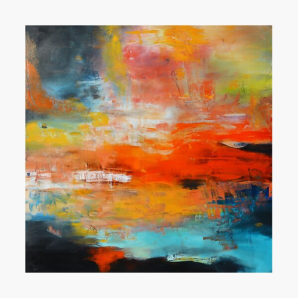 Red abstract sunset landscape painting Photographic Print
