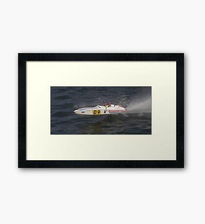 Model speedboat racing , offshore . Framed Print