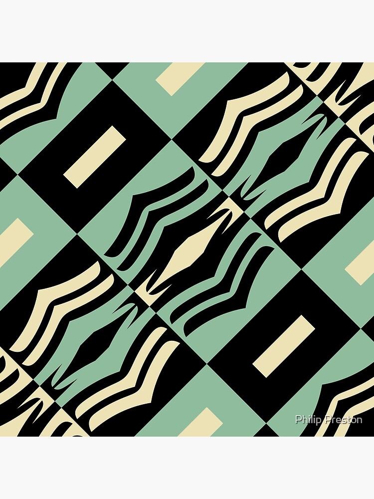 Modern Abstract Geometric Black Green Cream White Pattern Design 755 by prestonphoto
