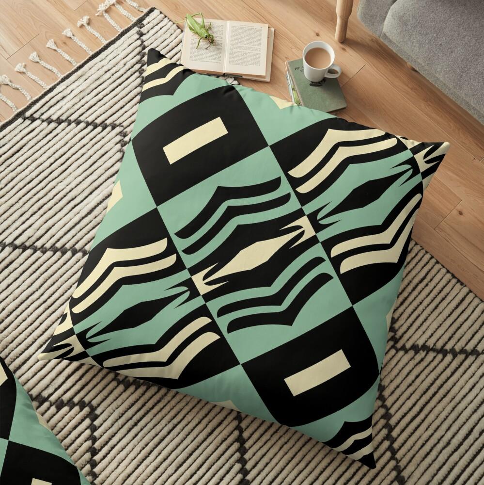Modern Abstract Geometric Black Green Cream White Pattern Design 755 Floor Pillow