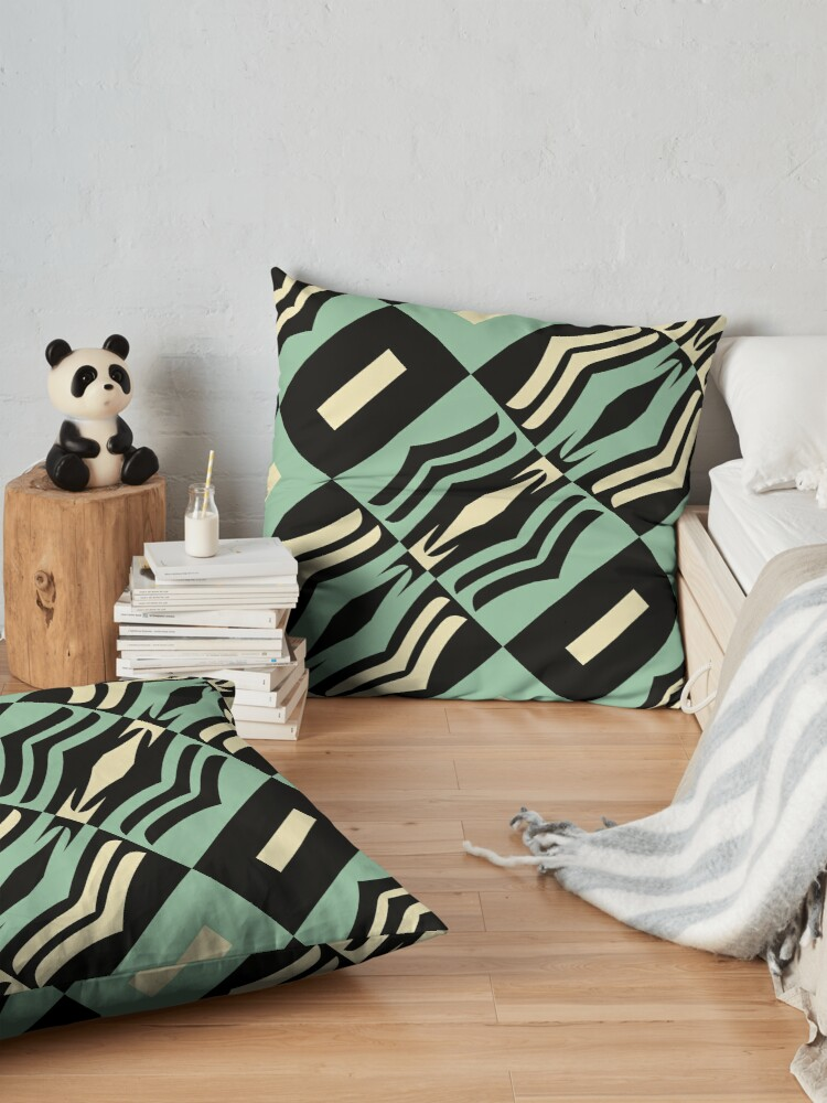 Alternate view of Modern Abstract Geometric Black Green Cream White Pattern Design 755 Floor Pillow