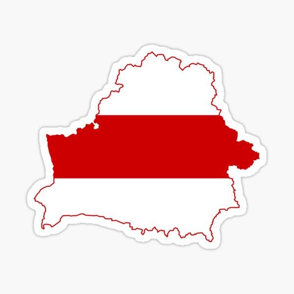 Flag Map of Belarus, 1918, 1991-1995 Sticker