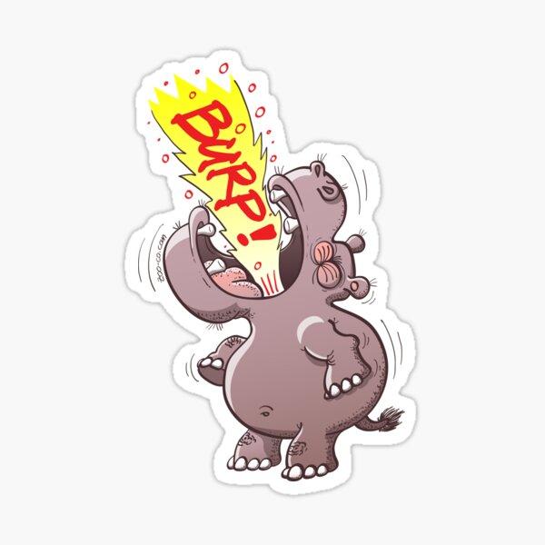 Hippopotamus Burping Loudly Sticker