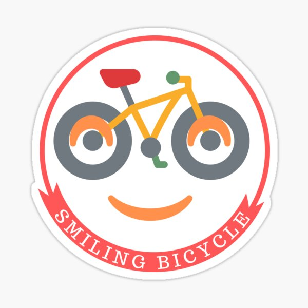 Smiling Bicycle, cyclist, funny cycling Sticker