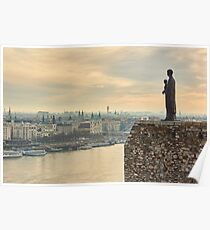 Statue of Virgin Mary above Budapest Poster