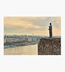 Statue of Virgin Mary above Budapest Photographic Print