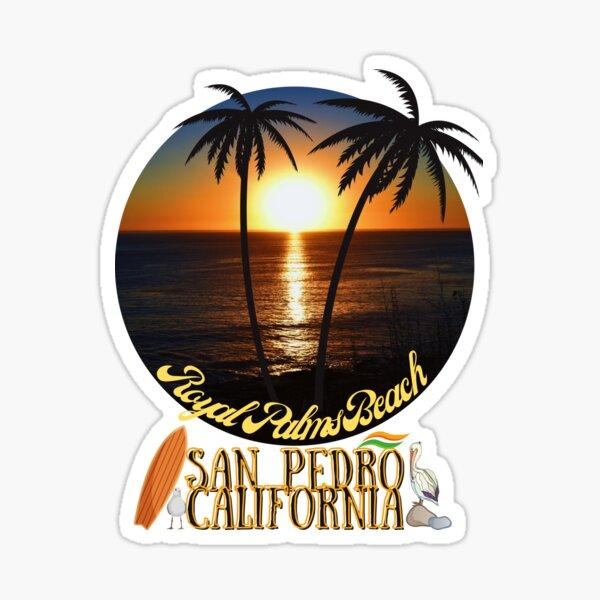 San Pedro California Sunset Royal Palms Beach Black Merch Sticker