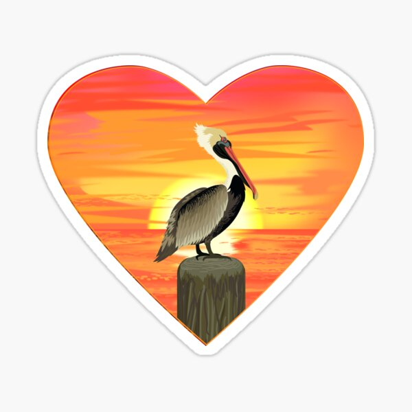 LOVE: Brown Pelican Sticker