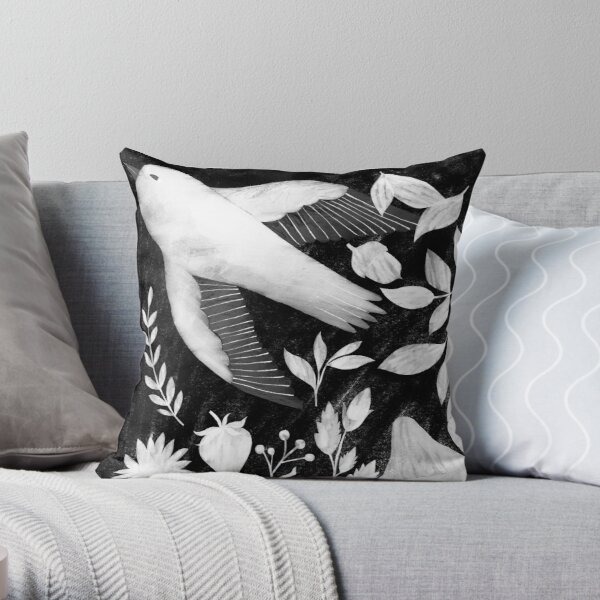 black and white bird, plants and mushrooms illustration Throw Pillow