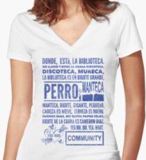 La Biblioteca Rap - Community Women's Fitted V-Neck T-Shirt