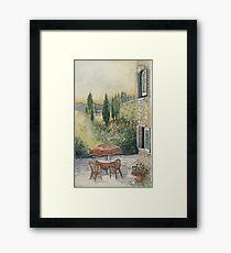 Red Umbrella - Tuscany Framed Print