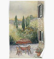 Red Umbrella - Tuscany Poster