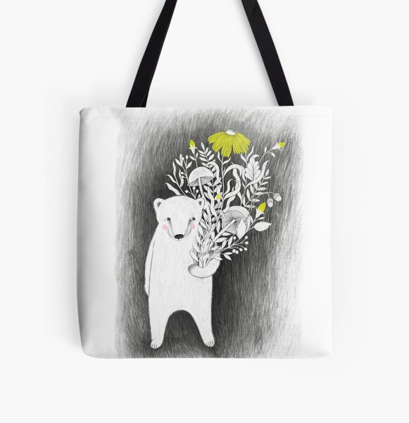 polar bear with plants illustration in gray and bright yellow All Over Print Tote Bag