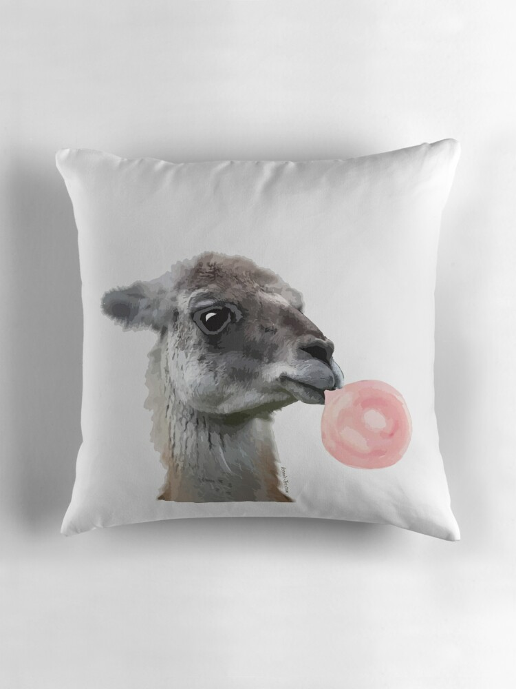 Quot Llama Bubbles Quot Throw Pillows By Iconictee Redbubble