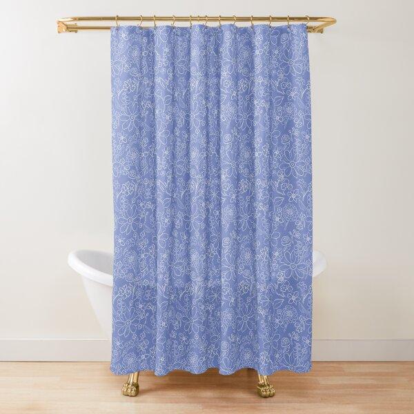 Hand-drawn garden French blue Shower Curtain