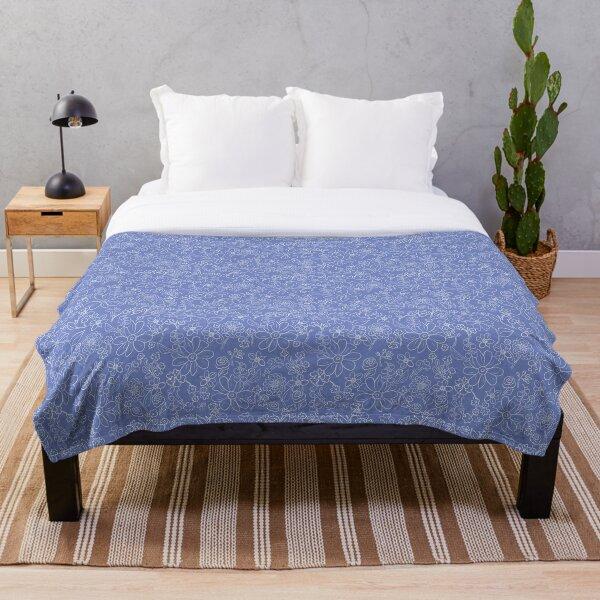 Hand-drawn garden French blue Throw Blanket
