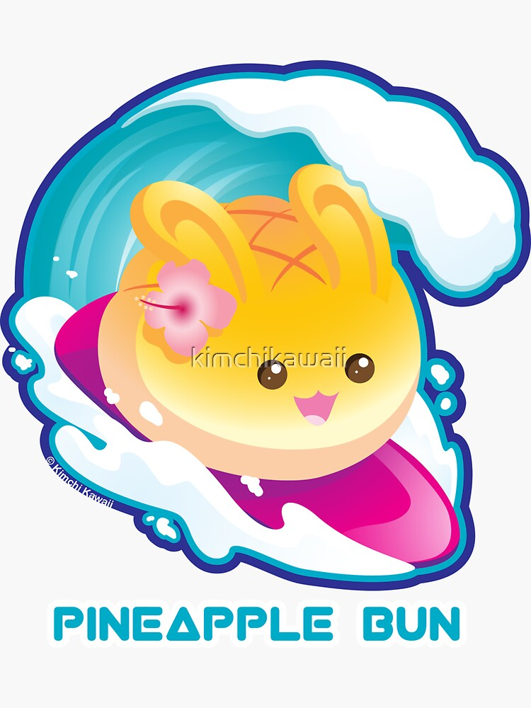 Punny Buns: Cute Surfing Pineapple Bunny Pun by kimchikawaii