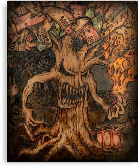 """Money Is The Root Of All Evil Png: """"Money Is The Root Of All Evil Tree"""" Canvas Prints By"""