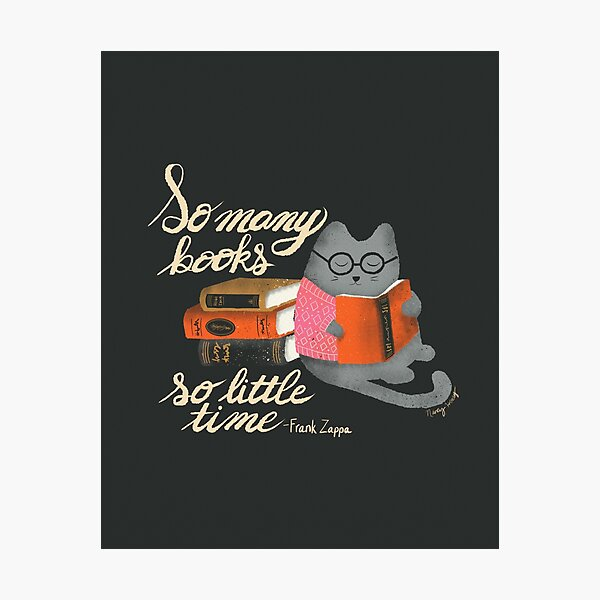 Reading Cat - dark background Photographic Print