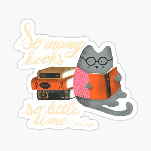 Reading Cat - dark background Sticker