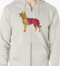 Australian Kelpie in watercolor Zipped Hoodie