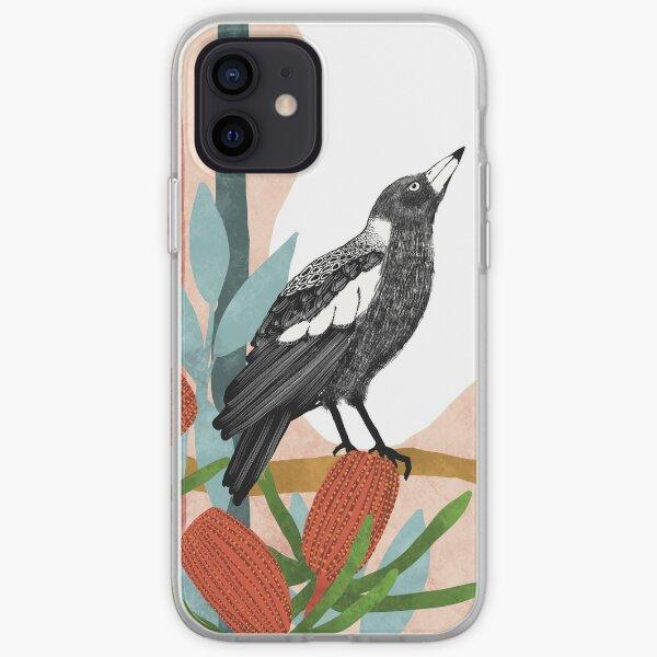 Australian Magpie amongst Banksia Flowers iPhone Soft Case