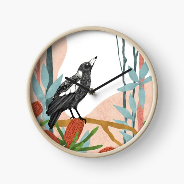 Australian Magpie amongst Banksia Flowers Clock