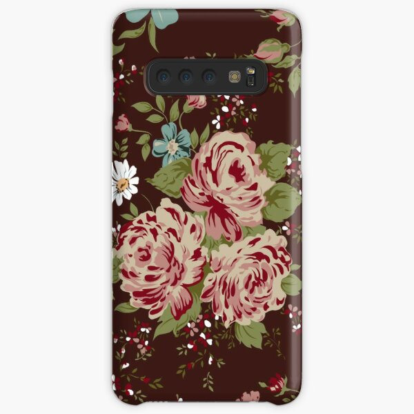 Cute Vintage Rose Flower Pattern On White Background Case Skin For Samsung Galaxy By Lourdelkalou Redbubble