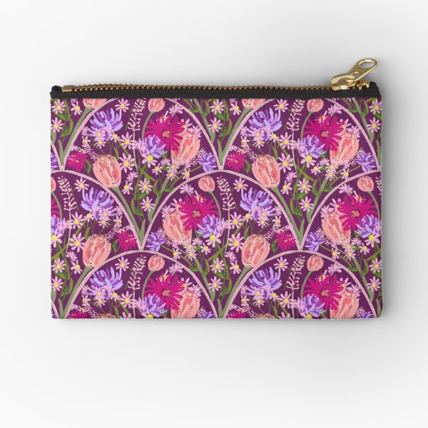 Wildflowers in Scallops in Aubergine by Tea with Xanthe Zipper Pouch