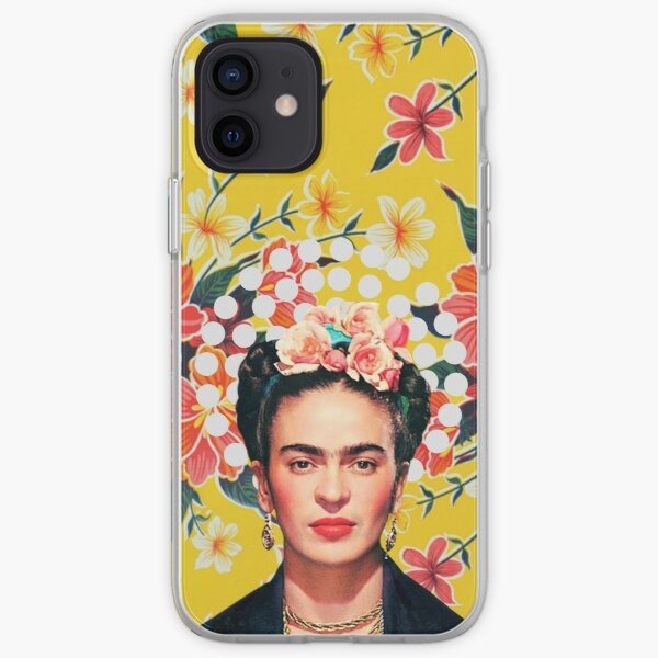 Frida Kahlo print, flowers, color on ocher Mexican tablecloth iPhone Soft Case