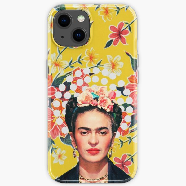 Imprimé Frida Kahlo, fleurs, couleur sur nappe mexicaine ocre Coque souple iPhone