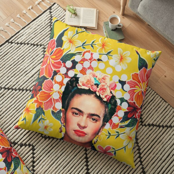 Imprimé Frida Kahlo, fleurs, couleur sur nappe mexicaine ocre Coussin de sol