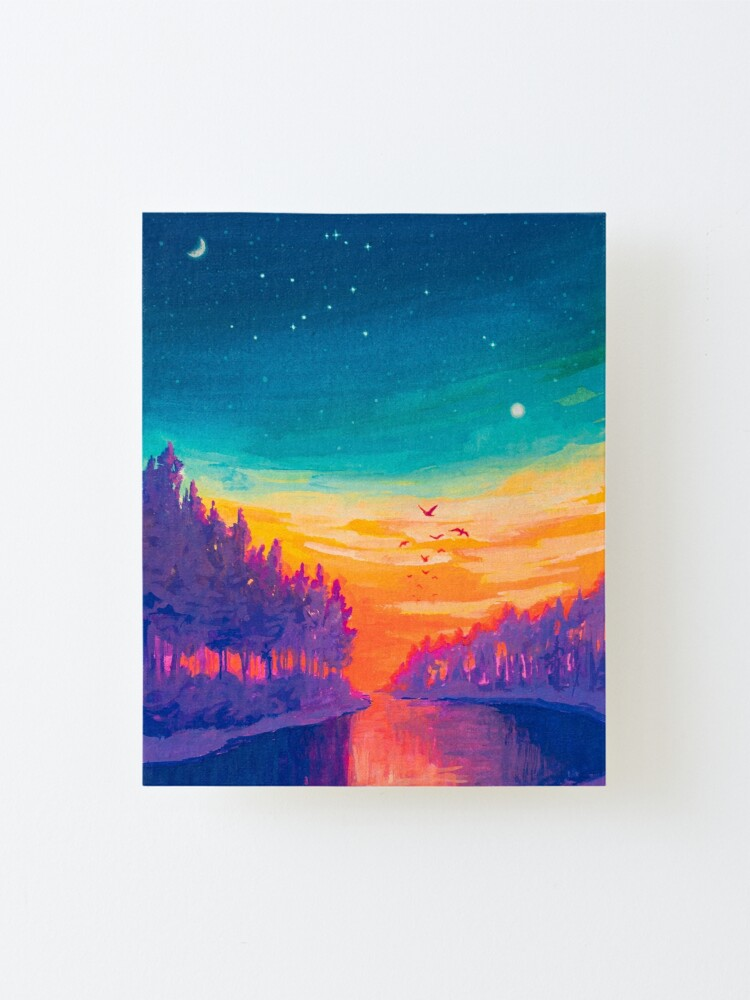 Alternate view of Zodiac Signs as Landscape Paintings- Aquarius / Great Conjuntion Mounted Print