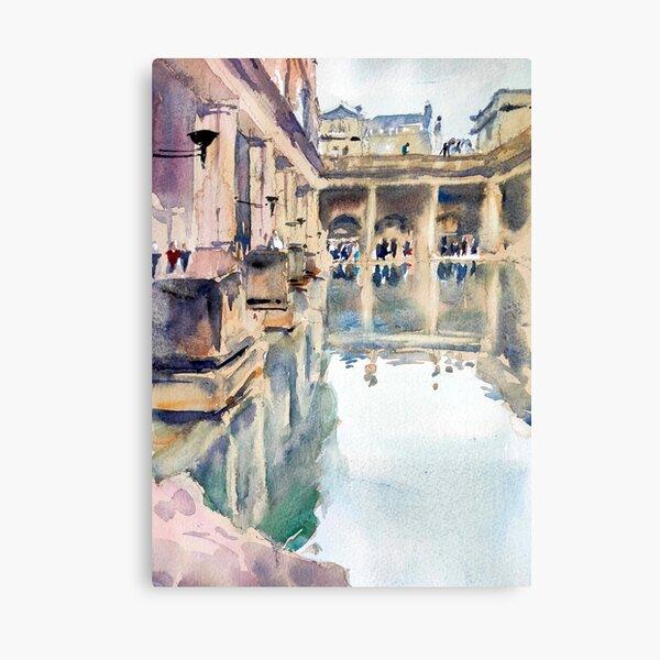 The Roman Baths - Watercolour urban landscape painting - Historic architecture -Great Bath Canvas Print