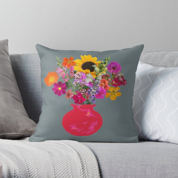 Bright pink vase still life on slate by Tea with Xanthe Throw Pillow
