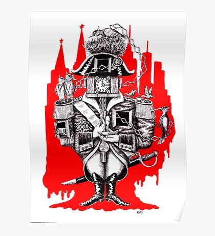 Imperial Clock surreal pen ink black white and red drawing Poster