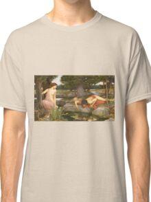John William Waterhouse - Echo and Narcissus 1903 . Love , Romance Classic T-Shirt