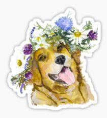 Dog with flowers. Sticker